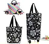 Cocobuy 2 Packs Shopping Bag on Wheels Collapsible Trolley Bags Folding Bag with Wheels Foldable Shopping Cart Shopping Trolley Bag on Wheels for Shopping Travelling and All Daily Use(Cartoon White)
