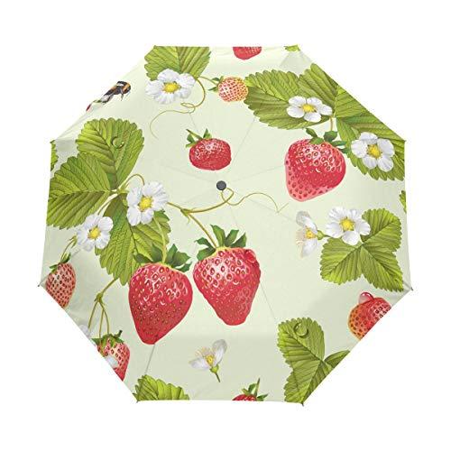 Jeansame Leuke Aardbei Thee Fruit Bijen Bloemen Vouwen Compacte Paraplu Automatische Zon Regen Paraplu's voor Vrouwen Mannen Kid Jongen Meisje