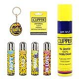 Clipper 4 Mecheros Encendedores Diversos Surtidos Bonitos Baratos,1 Carga Gas Encendedor Clipper 300 Ml,9uds De Piedra Clipper Y 1 Llavero Hibron Gratis 1-10003-9