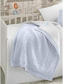 Knitted Merino Wool Blended Baby Blanket - Naturel
