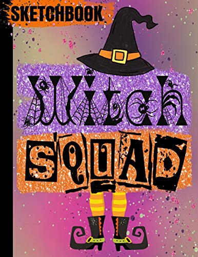 SKETCHBOOK: Halloween WITCH Books/WITCH SQUAD Purple Orange Pink Ombre Faux Glitter/Art Blank Drawing Pad/Scrapbook for Doodling/Sketching ... Cover/8.5