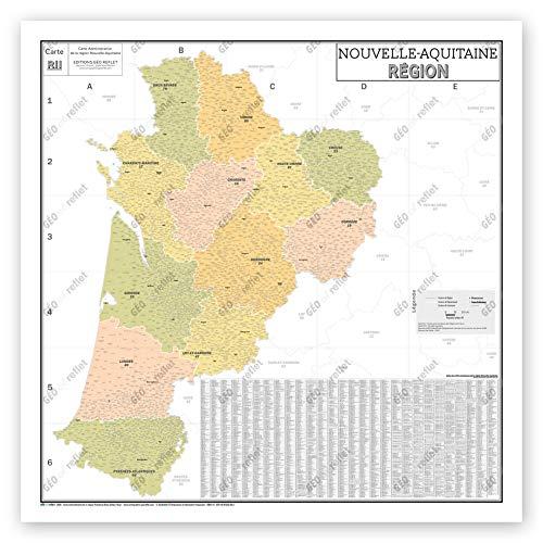 Mapa de Francia Murale – Mapa administrativo – Región Nueva -Aquitaine – Modelo Vintage – Póster plastificado de gran formato 120 x 120 cm