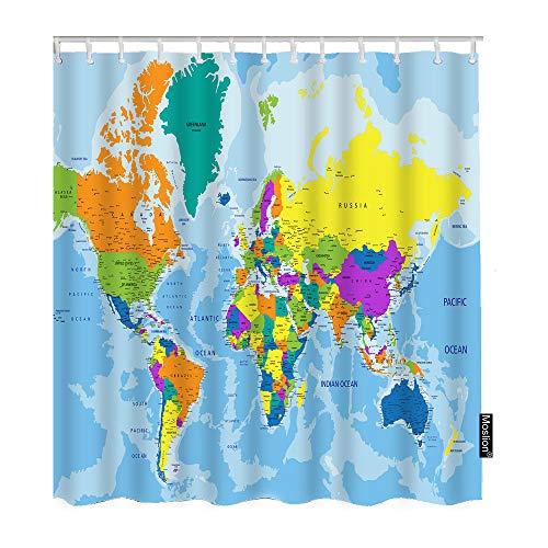 Moslion Duschvorhang mit Weltkarten-Motiv, Geographie, Weltkarte, Landkarte, Ozean, Berge, Badezimmer, dekorativer wasserdichter Polyester-Stoff mit Haken, 183 x 183 cm, Blau