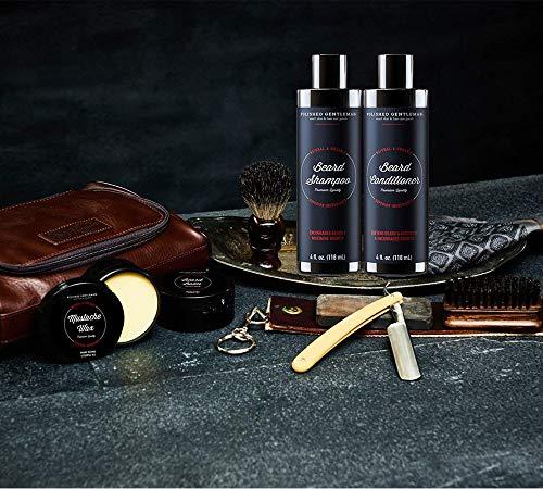 Shampooing et épurateur à la barbe et à l'épaississement en cuir poli, avec huile de barbe...