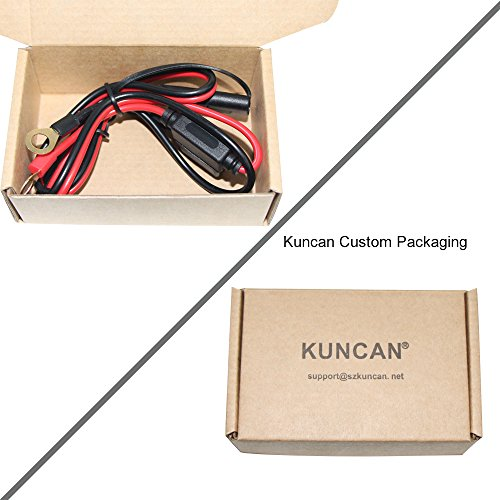 KUNCAN 2FT SAE to O Ring Terminal Harness Wire 2 Pin Lug Cable, Eyelet Terminal Harness Extension Charge Cord, Quick Disconnect SAE Connection Lead For Motorcycle, Car, Tractor 10A Fuse