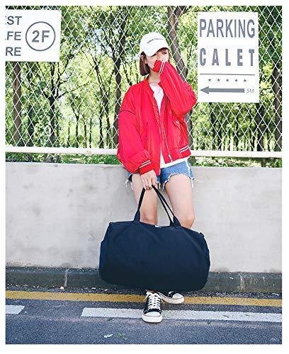 Chenyu - Borsone da viaggio extra large e impermeabile, con manico per viaggi, sport, palestra, vacanze, taglia L (nero)