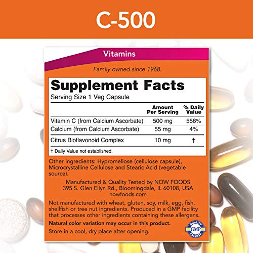 NOW Supplements, Vitamin C-500 Calcium Ascorbate, Antioxidant Protection*, 250 Capsules