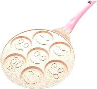 CHARON 7-Mold Crepe Maker,Nonstick Electric Pancakes Maker Griddle, φ26cm, Tortilla, Eggs,Pink,Smiley