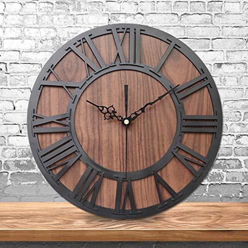 Digitale Wecker-Hansee, Tischuhren Uhr Funk-Wecke Reisewecker Europäische Retro Holz Roman Digital Craft Wanduhr Wohnzimmer Dekorative Alarm Clock für Zuhause, Schlafzimmer(Schwarz)