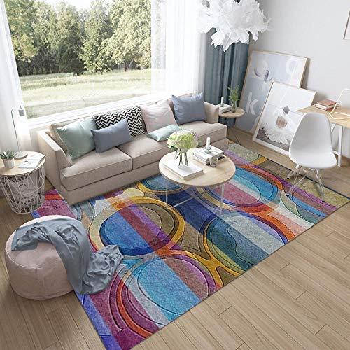 HXJHWB Alfombra Pasillo Cocina Diseño - Alfombra Interior de Mosaico Redondo Multicolor Colorido impresión 3D Antideslizante-El 140CMx200CM