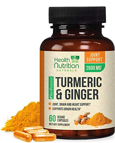Turmeric Curcumin 95% Standardized with Ginger and BioPerine 2600mg - Black Pepper for High Absorption, Made in USA, Vegan Joint Support, Turmeric Ginger Supplement Caps - 60 Capsules