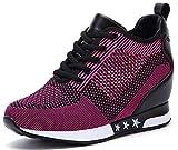 AONEGOLD® Sneakers Zeppa Donna Scarpe da Ginnastica Basse Sportive Fitness Scarpe con Zeppa Interna Sneaker Casual Tacco 8 cm(Porpora,35 EU)