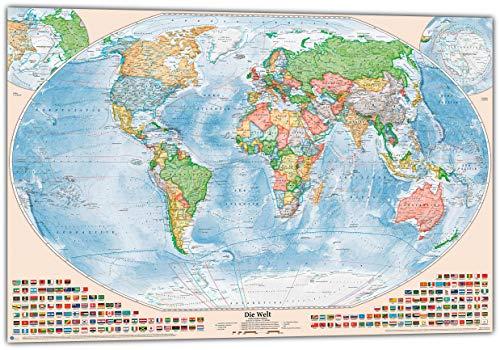 J.Bauer Karten Politische Weltkarte, Größe 120 x 80 cm, Stand 2019, deutsch