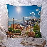Fundas de almohada decorativas Decoración Cuadrado Paisaje Candelaria España Vacaciones Ciudad en el océano Plaza Tenerife Islas Canarias Lugares de interés Parques Exterior Funda de al 18×18pulgada