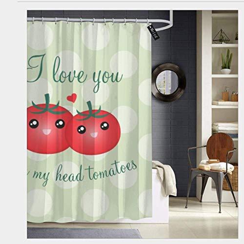 Ich Liebe Dich von Meinem Kopf Tomaten Lustige Frucht Wortspiel R&e Anti-Mehltau Duschvorhang Polyester Stoff maschinenwaschbar