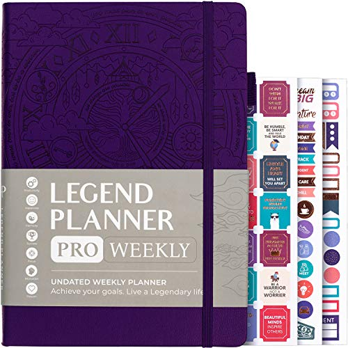 """Legend Planner PRO – Deluxe Weekly & Monthly Life Planner to Increase Productivity and Hit Your Goals. Time Management Organizer Notebook – Undated – 7 x 10"""" Hardcover + Stickers – Dark Purple"""