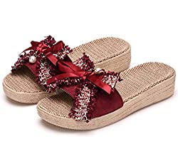 Thick Red Flax Bowknot Slip On Sandals