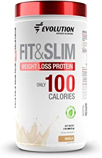 Evolution Low Carb Fit and Slim Grass Fed Whey Protein – High Fiber – Keto Approved – Stevia Sweetened – Only 100 Kcal per Serving – 2 Pounds - 30 Servings – Award Winning Taste Vanilla