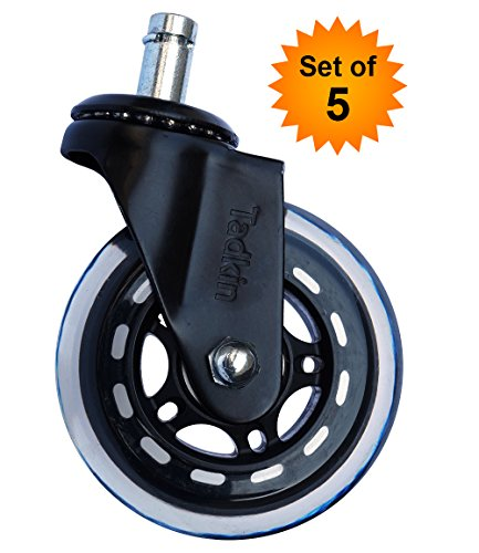Office Chair Wheels Replacement Set of 5. Strongest Heavy Duty Office Chair Caster Wheels For Your Desk Chair. Smooth, Quiet Rolling Casters Perfect For Hardwood Floors, Carpet, Laminate and Tile