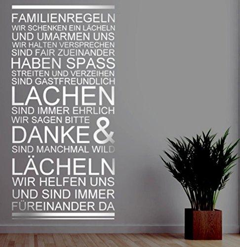 timalo® Wandtattoo Familienregeln Familie Zuhause Wohnzimmer Flur Spruch Banner 1pt2-1-pk27 ab 14,90€ (H 100cm x B 36cm)
