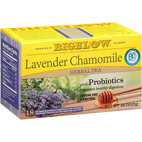 Bigelow Tea Lavender Chamomile Plus Probiotics Herbal Tea Bags, 18 Count Box (Pack of 6) Caffeine-Free Herbal Tea, 108 Tea Bags Total