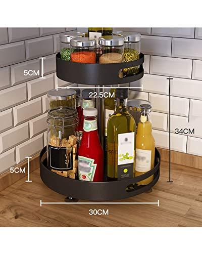 F-XW Lazy Susan Drehteller Gewürzhalter,Metall Gewürz Aufbewahrungshalter Schrank Organizer Für Küche,Bad,Schränke,Kühlschrank,Arbeitsplatten,360° Drehbares Gewürzregal