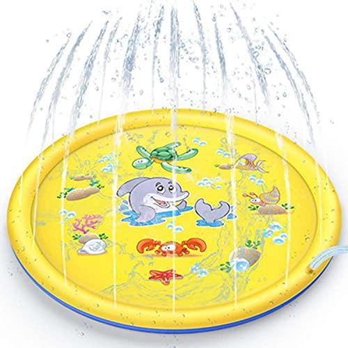 ASWT Almohadilla Inflable para rociadores de Salpicaduras para niños pequeños, tapete de Juego con Fuente para Patio Trasero de 68',Alfombra de Agua al Aire Libre,Amarillo,10m Water Pipe