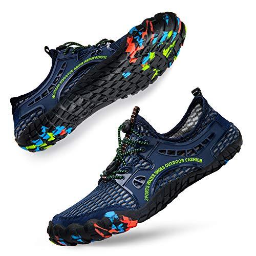 Lavibelle Zapatos de agua descalzos – Unisex de secado rápido Aqua Zapatos Trail Running Gym Fitness Entrenadores para playa, yoga, natación, surf, buceo, barco, color Negro, talla 38 EU
