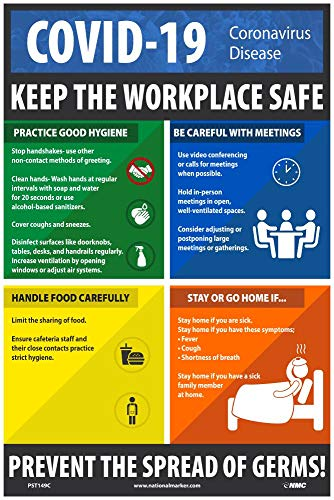 NMC PST149C 'Keep the Workplace Safe' Social Distancing Poster, 0.015' thick Unrippable Vinyl Poster, 18' x 12'