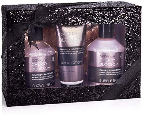 BRUBAKER Cosmetics - Coffret de bain & bien-être - Fleur de cerisier - 4 Pièces - Trousse à maquillage pratique - Boîte paillettes/Noir - Idée cadeau