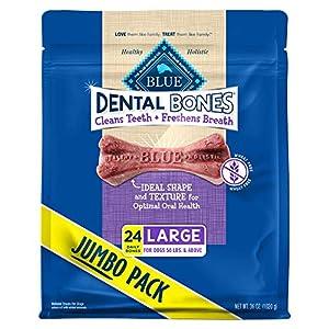 Blue Buffalo Dental Bones Large Natural Dental Chew Dog Treats, (50 lbs and up) 36-oz bag Super Value Pack