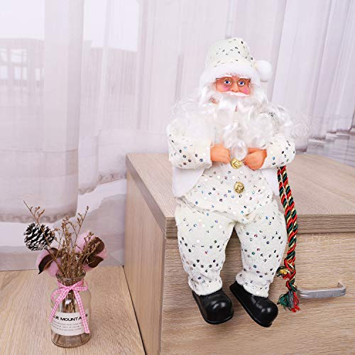 LONTG Sitting Santa Claus Father Christmas Sitting Figure Long Beard Father Christmas Doll Ornament Plush Santa Doll Toy Gift Christmas Ornament Decoration for Window Display Table Fireplace (White)