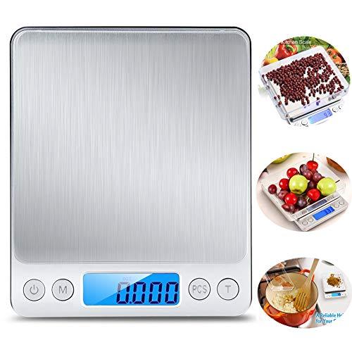 BOBO-Y Básculas para Alimentos de Cocina,2 Bandejas Balanza digital de Acero Inoxidable, 3000g / 0.1g,…