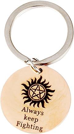 Meiligo Boyfriend Girlfriend Gift Humor Jewelry Always Keep Fighting Key Chain Supernatural Pattern for Couples