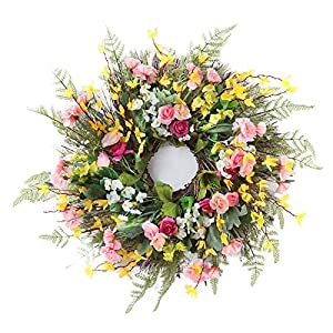 24In Artificial Carnation Wreath Handmade Silk Flowers Wreath with Green Leaves Decorative Summer Spring Wreath for Wall Home Party Wedding Decor