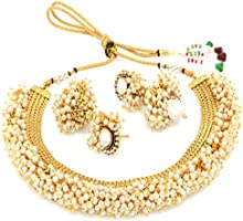 YouBella Jewellery Exclusive Gold Plated Pearl Studded Traditional Temple Necklace Set for Women/Jewellery Set with...