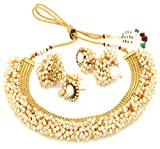 YouBella Jewellery Exclusive Gold Plated Pearl Studded Traditional Temple Necklace Set for Women/Jewellery Set with Earrings for Girls and Women