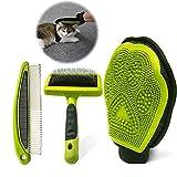 Cepillo Para el Cuidado de Mascotas, Cepillo Para Perros,Guante Para el Cuidado de Mascotas Para Perros, Gatos, Conejos con Pelaje Largo / corto / rizado (3 piezas)