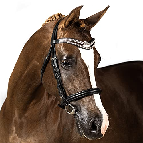 Flexible Fit Equestrian Black Leather Snaffle Horse Bridle with Split Wave Crystal Browband and Cavesson Noseband Horse