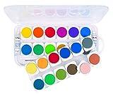 PRIMO - Caja Grande para niños, 24 Colores de Agua, Incluye 1 Pincel y 2 Tubos de Color Blanco para Pintar y Pintar
