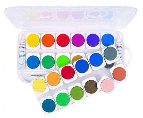 Primo großer Tuschkasten für Kinder | 24 Wasserfarben inkl. 1 Pinsel und 2 Deckweiss-Tuben | Deckfarben zum Malen und Tuschen