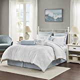 Harbor House 100% Cotton Comforter Set-Coastal Oceanic Sealife Design All Season Down Alternative Bedding with Matching Shams, Bedskirt, Queen(92'x96'), Beach, Quilted Seashell White, 4 Piece