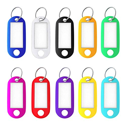 20 Stks Key Tags met Split Ring Key Fobs Labels ID sleutelhanger TagsBaggage Memory Stick, 10 Kleuren
