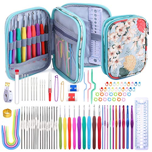 96 Pack Crochet Hooks Set, Ergonomic Knitting Needle Weave Yarn Kits with Storage Case and Crochet Needle Accessories, Crochet Needles Kit for Beginners and Experienced Crochet Hook Lovers