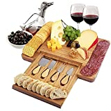 gifts for wine lovers - bamboo cheese board and cutlery set