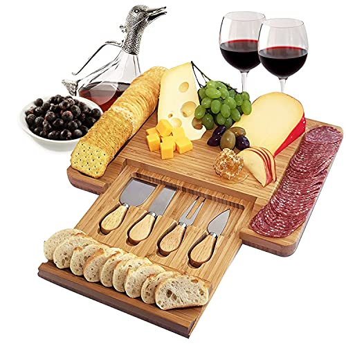 Home Euphoria Natural Bamboo Cheese Board and Cutlery Set with Slide-out Drawer....