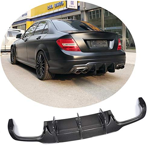 Jun-star Carbon Fiber Rear Bumper lip Diffuser fits for Mercedes Benz C Class W204 C300 Sport C63 AMG Sedan 2012-2014 Lower Chin Spoiler Splitter Bodykit