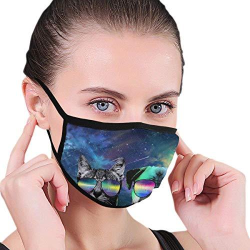 Mundschutz Maske Galaxy Space Dj Katze Mit Kopfhörer Haustier Tier Mops Hund Polyester Produkte Halten Sie Ihr Gesicht sauber und komfortabel