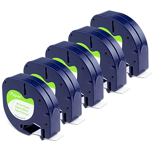 Aken - Cinta de Etiquetas compatible para usar en lugar de Dymo Letratag papel Cinta Etiquetas 12mm x 4m negro sobre blanco, Recambios S0721510 para Dymo Etiquetadoras LT100h LT100T LT110T XR