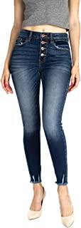Kan Can Women's High Rise Ankle Skinny Jeans - Button Fly - KC9142